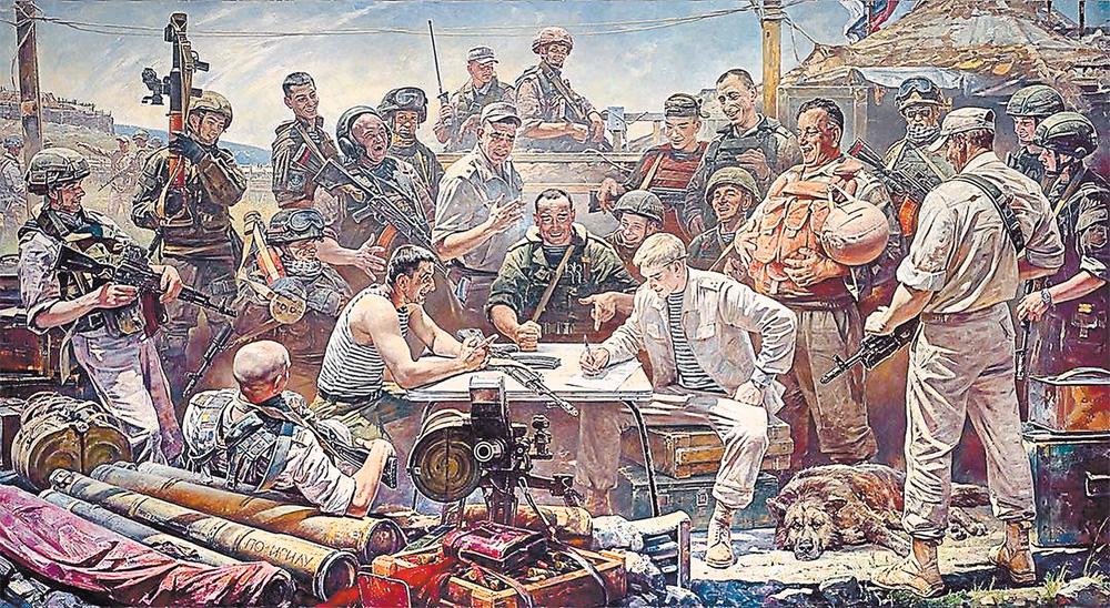 Все персонажи картины «Письмо недругам России» списаны с реальных людей. Единственный момент: по соображениям некой секретности нельзя было переносить на полотно лица бойцов со стопроцентной точностью.