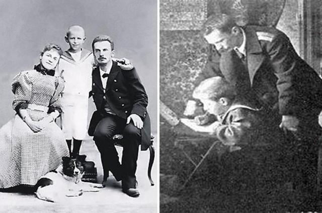 Петр Шмидт в Нагасаки с женой Доминикией и сыном Евгением; после развода Шмидта-старшего с женой сын Женя остался с отцом.