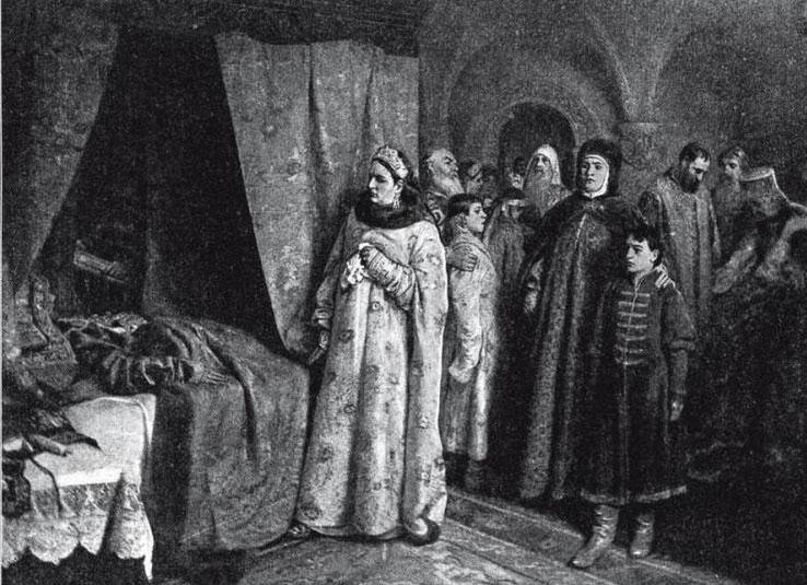 Родственники у смертного одра Фёдора Алексеевича. Картина К. Лебедева.