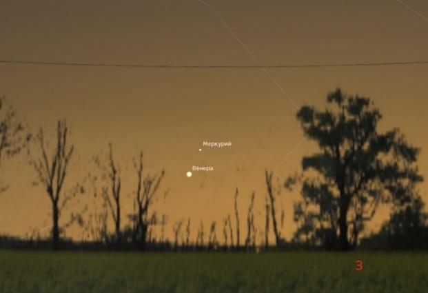 Венера и Меркурий на вечернем небе 5 марта в 19:30