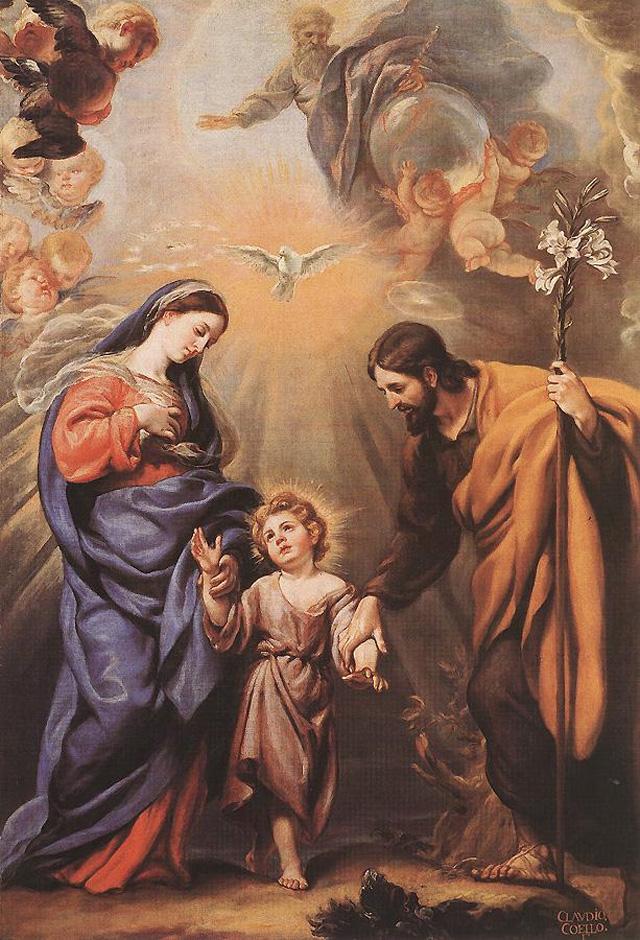 Святое семейство: Мария, Иосиф и младенец Иисус. Клаудио Коэльо. 1642-1693