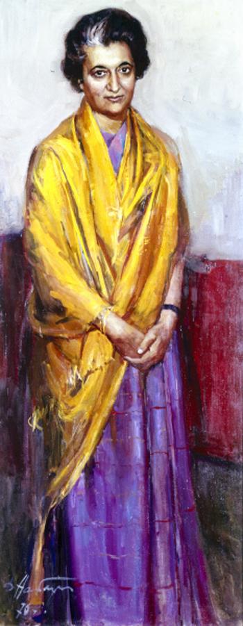 Репродукция картины Портрет Индиры Ганди художника Дмитрия Аркадьевича Налбандяна. Холст, масло. 1970 год
