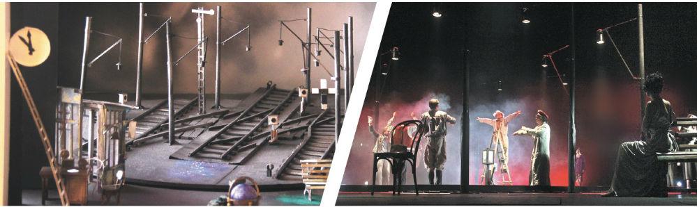От замысла до воплощения: на левом снимке макет вокзала Владимира Медведя к спектаклю «Безымянная звезда», на правом – реальное действие с актёрами и в декорациях.