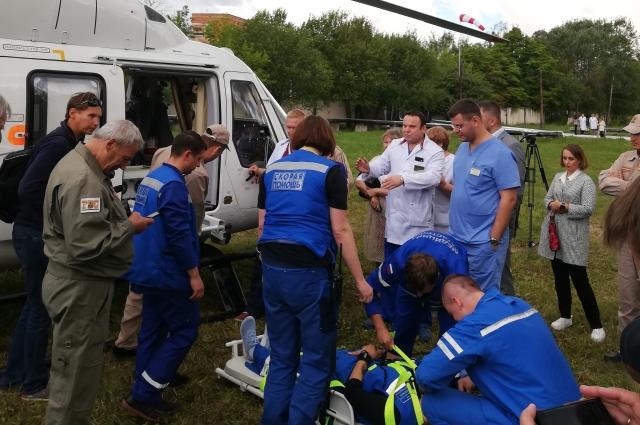 Транспортировка пациента на санитарном вертолете