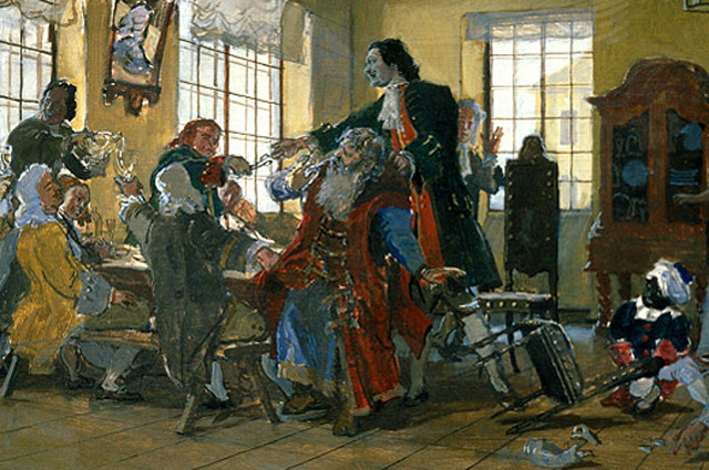 «Петр I стрижет бороды боярам». Картина Дмитрия Белюкина, 1985 год.