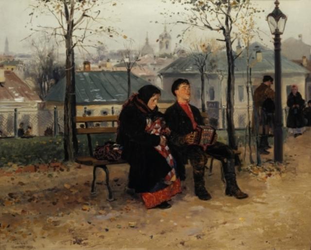 Маковский вынес в центр картины непростую ситуацию между мужчиной и женщиной.