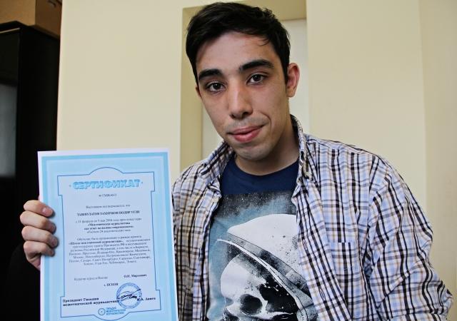 Выпускник Школы межэтнической журналистики в Пскове Тахир Ташпулатов.