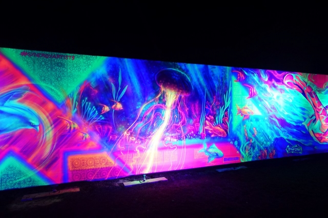 Уличные художники создали самое большое в мире светящееся граффити.