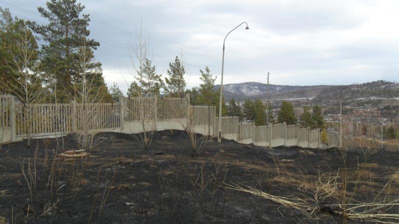 Причиной пожара стал пал сухой травы.