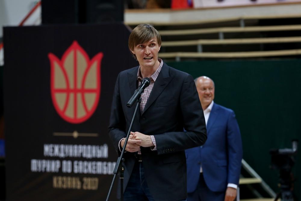 Андрей Кириленко в Казани на открытиии международного турнира по баскетболу.