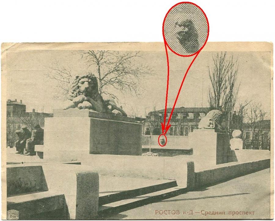 Сегодня история постройки скульптурно-фонтанной композиции со львами напротив главного входа в Ростов¬ский Госбанк в основном покрыта тайной.