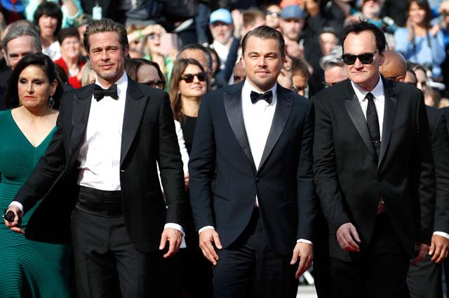 Брэд Питт, Леонардо Ди Каприо и Квентин Тарантино на Каннском кинофестивале.