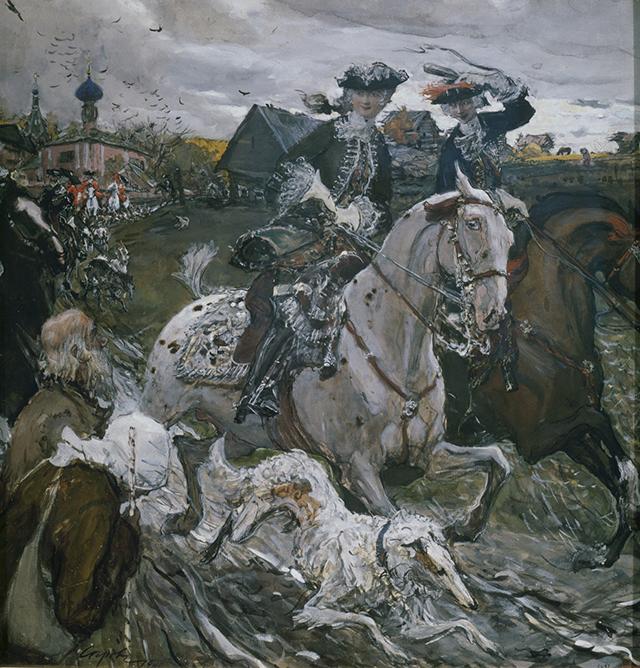 Серов Валентин Александрович (1865 1911). Выезд Петра II и цесаревны Елизаветы Петровны на охоту . 1900 г