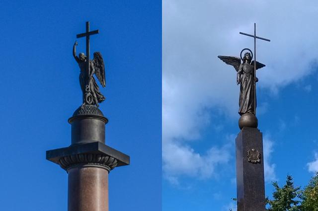 Слева ангел с Александровской колонны, справа - с Кемеровской. Найдите семь отличий.