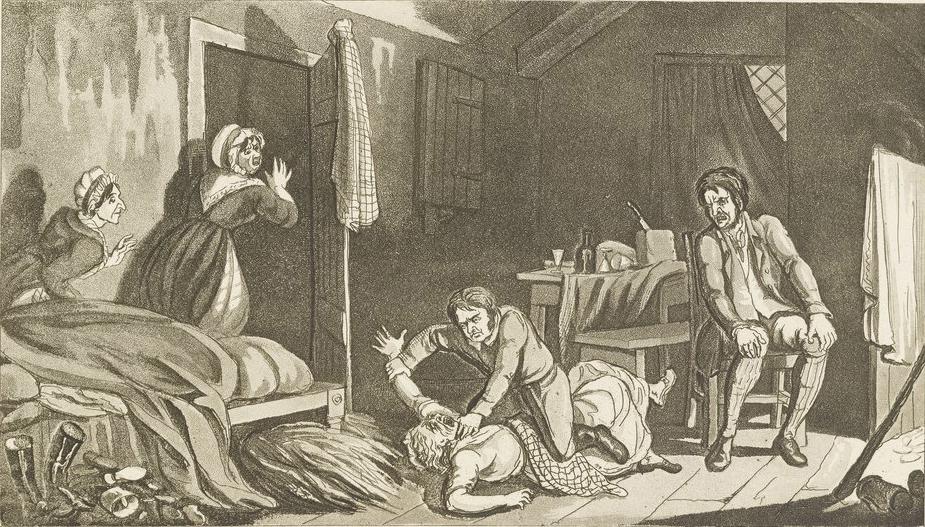 Гравюра Роберта Сеймура, изображающая убийство Берком Маргарет Догерти.