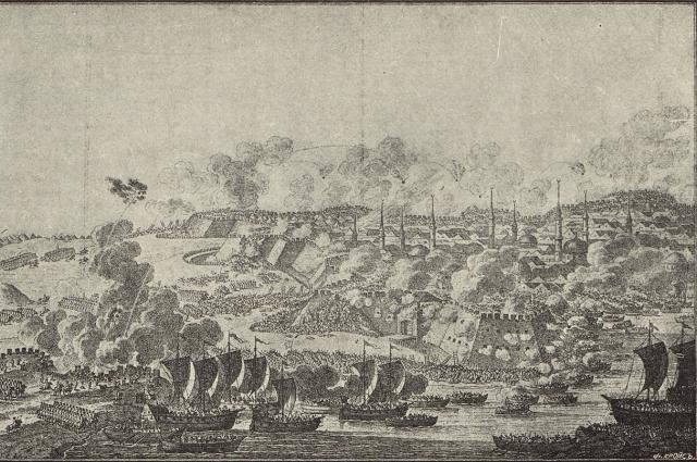 Штурм Измаила, гравюра XVIII века.