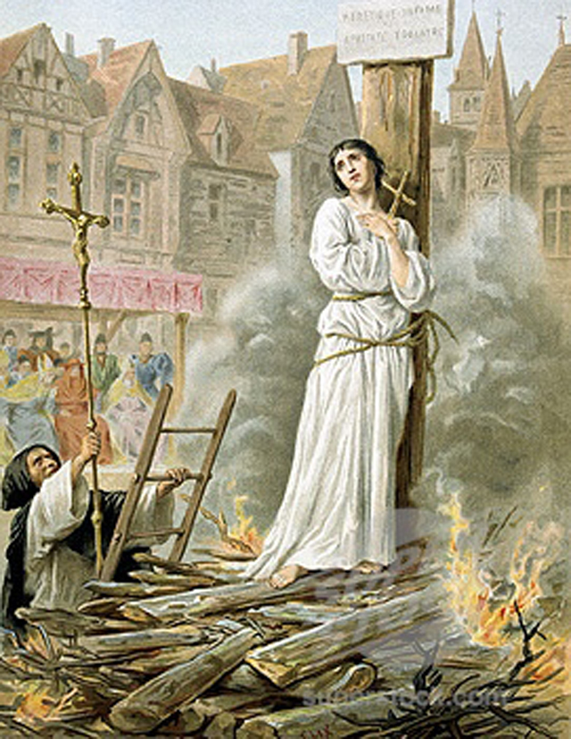 Сожжение Жанны д'Арк. Открытка XIX века.