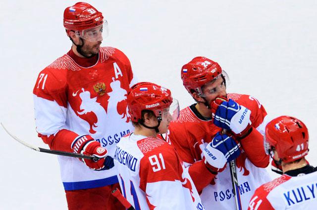 Игроки сборной России по хоккею после вылета с Олимпиады