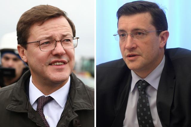 Врио губернаторов Дмитрий Азаров (слева) и Глеб Никитин.