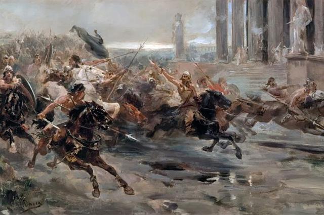 Гунны идут на Рим. Иллюстрация худ. Ульпиано Кеки.