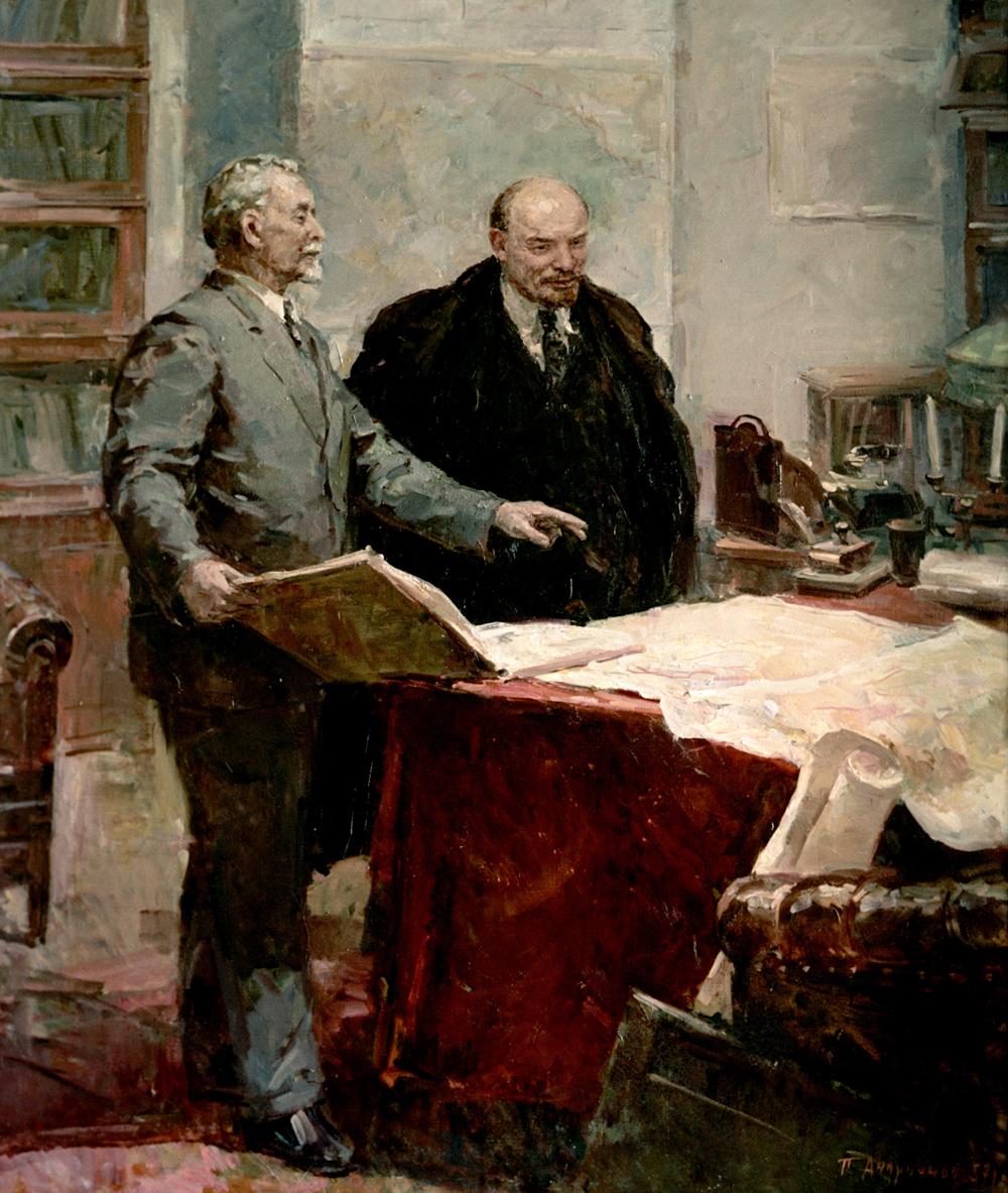 Репродукция картины «Укарты ГОЭЛРО» художника Петра Андрианова.