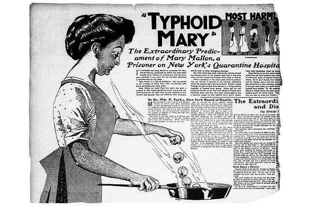 Газетная иллюстрация в статье о Тифозной Мэри, 1909 год