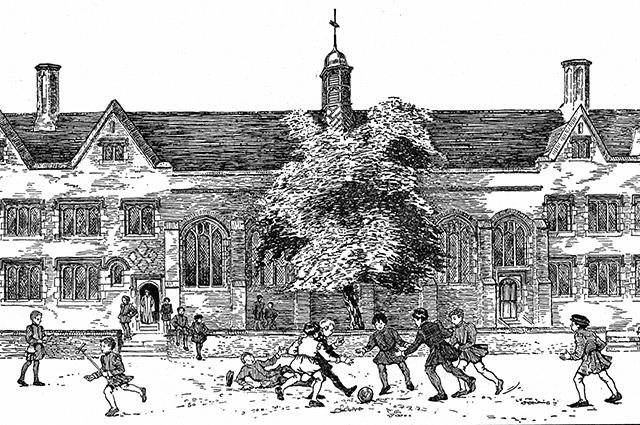 Мальчики, играющие в футбол. Англия, время правления династии Тюдоров. Картина неизвестного художника
