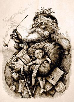 Санта-Клаус на рисунке Томаса Наста (1881)
