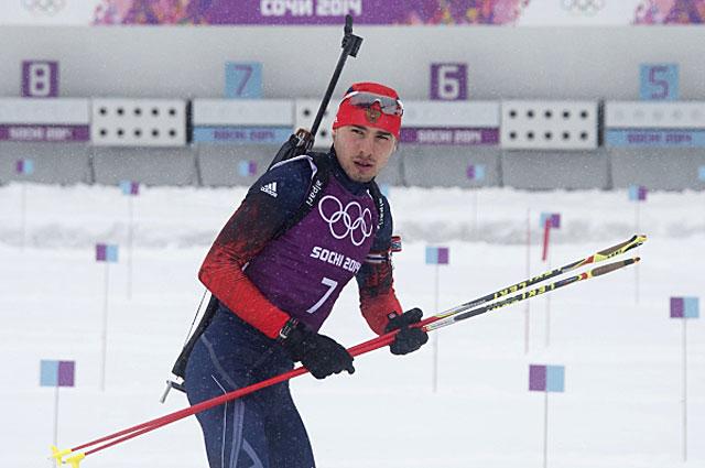 Антон Шипулин на тренировке сборной России по биатлону перед началом XXII зимних Олимпийских игр в Сочи, 2014 год