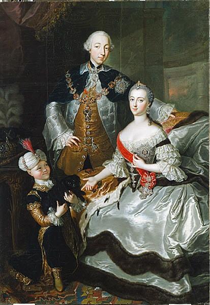 «Великий князь Пётр Фёдорович и великая княгиня Екатерина Алексеевна с пажем»