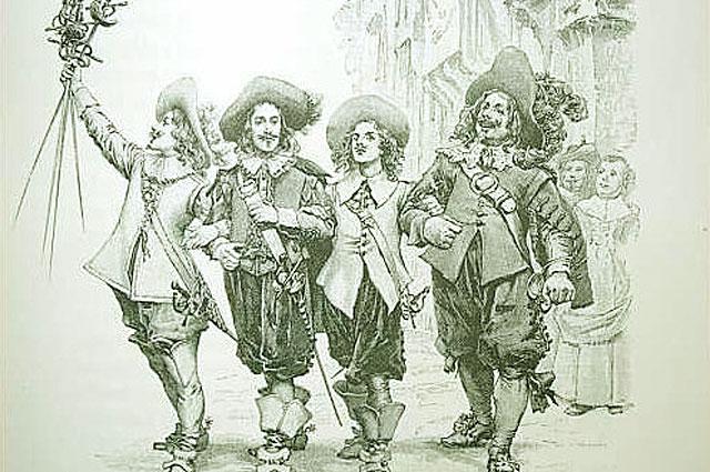 Рисунок мушкетёров из романа Александра Дюма.