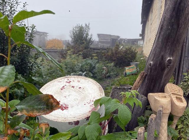 Покосившиеся старый дома деревни Томино.