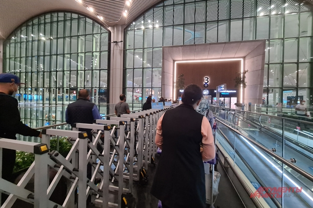 Очередь на вход в аэропорт Стамбула - у всех тщательно проверяют документы.