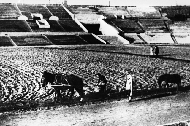 Работники стадиона Динамо сеют газон. 1931 год