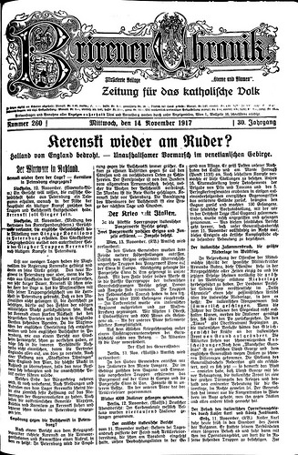 Brixener Chronik за 14 ноября 1917 (коллекция библиотеки Фридриха Тесмана)