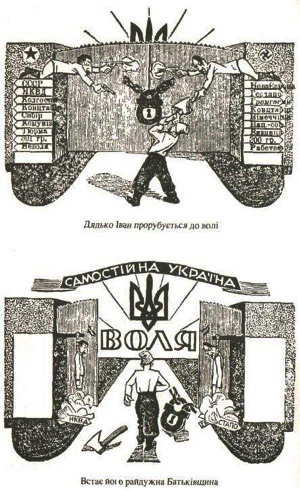 Агитационный плакат украинского движения времен Второй мировой войны.