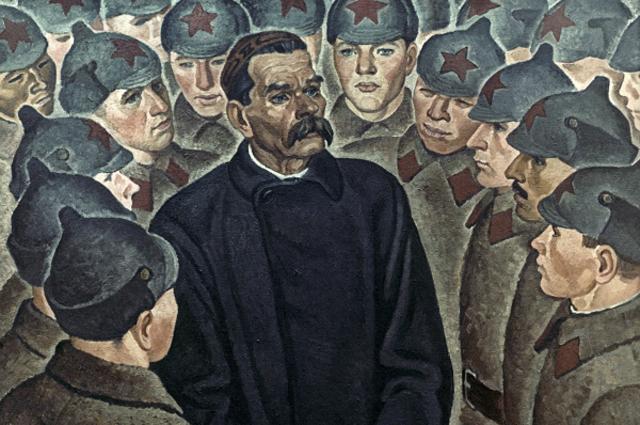 Репродукция картины «Максим Горький украсноармейцев» работы художника Виктора Рыжих.