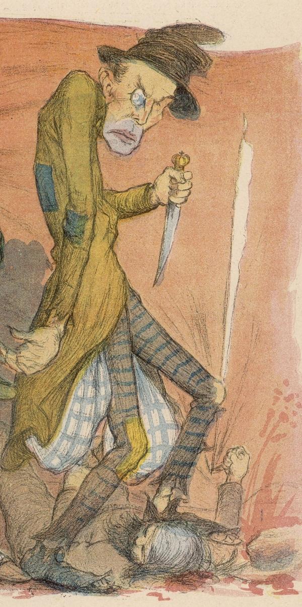 Карикатура на Джека-Потрошителя. Конец XIX века