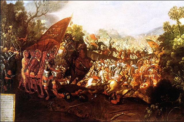 Битва при Отумбе на картине XVII века.