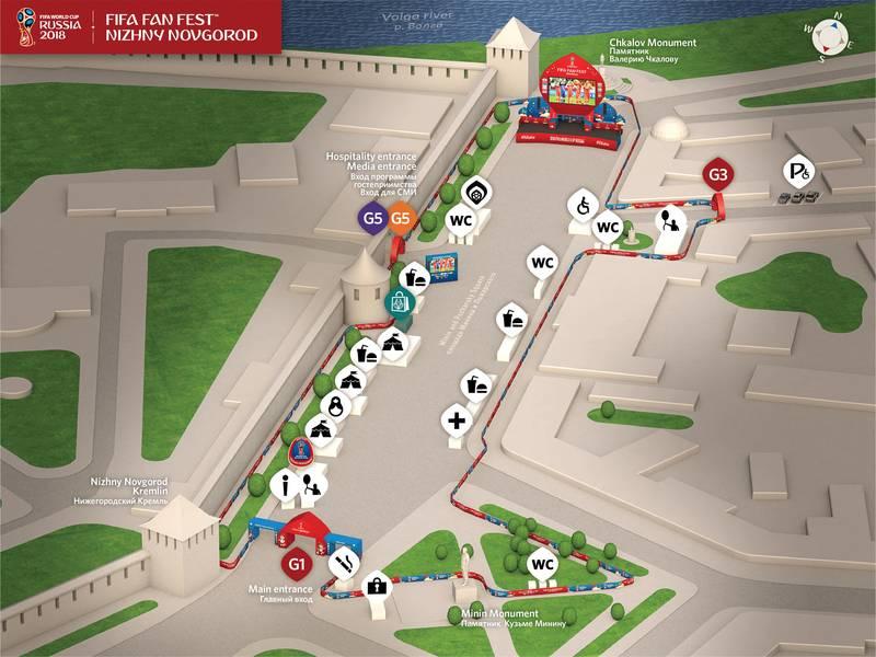 Карта-схема фестиваля болельщиков в Нижнем Новгороде.
