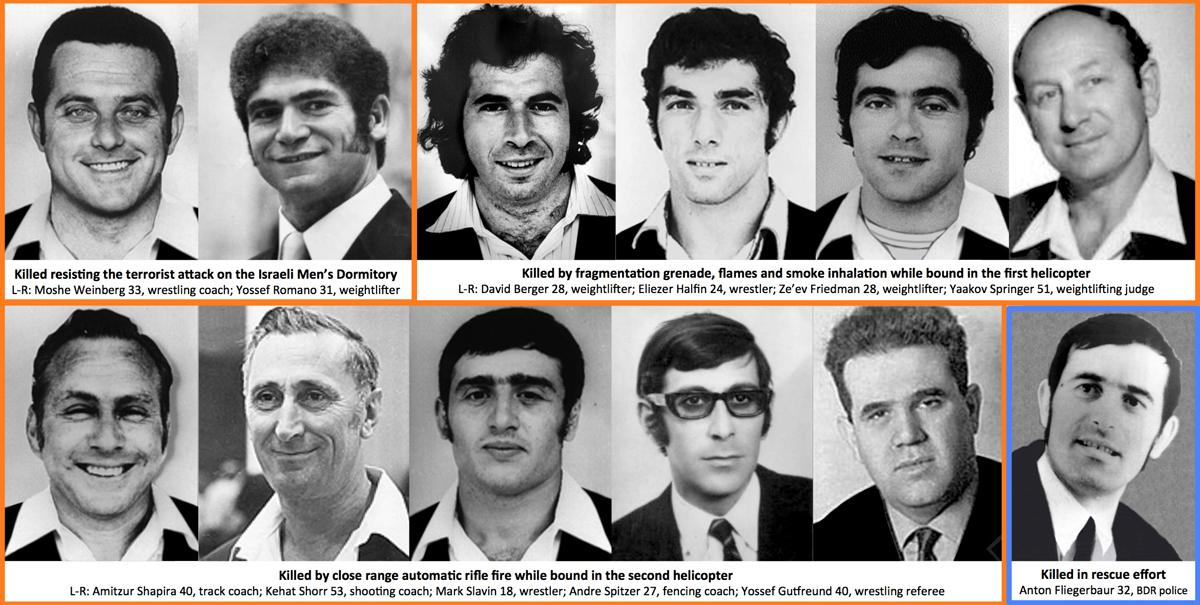 Жертвы теракта на Олимпиаде в Мюнхене в 1972 году