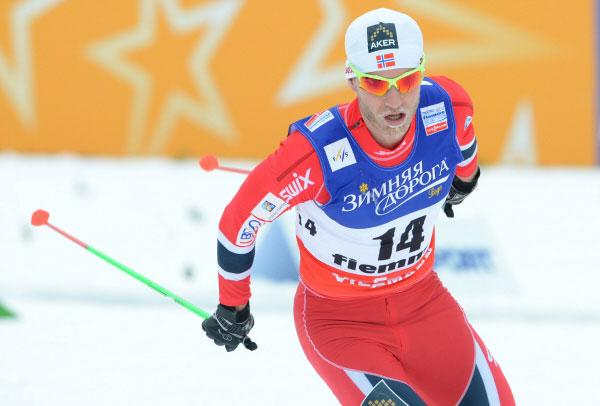Мартин Йонсруд Сундбю во время чемпионата мира по лыжным видам спорта в итальянском Валь-ди-Фьемме, 2013 год