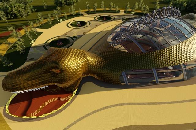 Главное здание планируется выполнить в форме огромного динозавра.