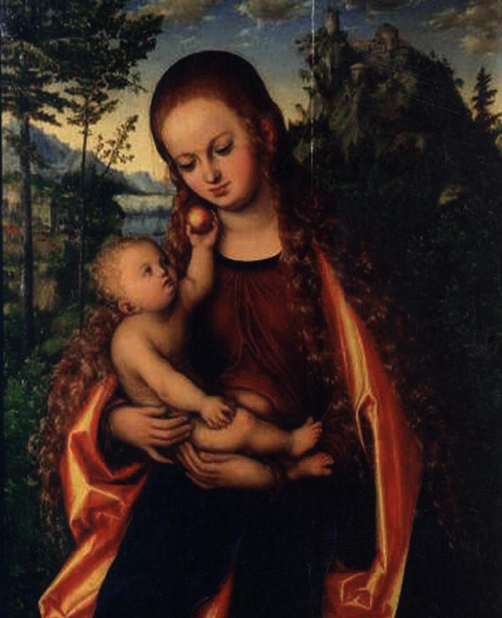 Лукас Кранах Старший «Мадонна с младенцем», т.н. «Мадонна Глоговская» (1518).