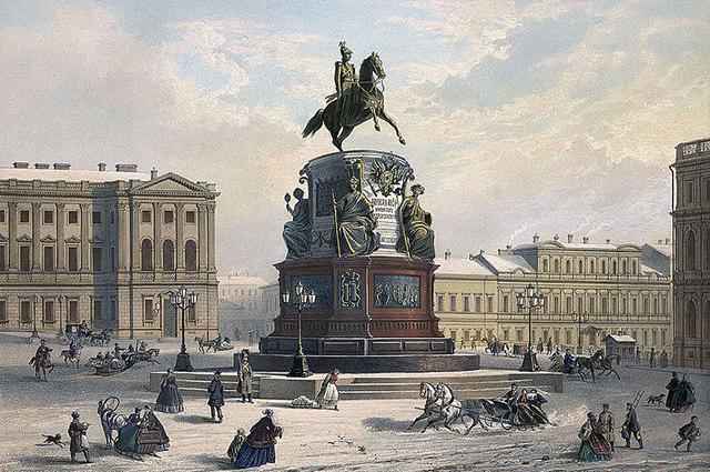 Памятник Николаю I в Санкт-Петербурге в XIX веке, литография по рисунку И. Шарлеманя