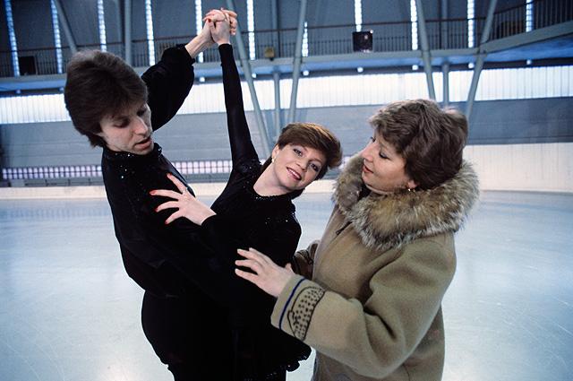 С Андреем Букиным и Натальей Бестемьяновой на тренировке. 1984 г.