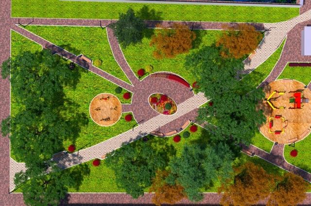 Вид сквера сверху - он будет поделён на две зоны: тихую с лавочками и активную с площадкой и тренажёрами.