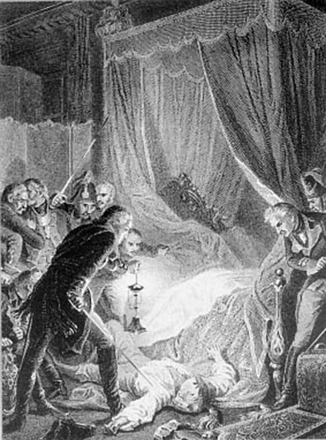 Убийство императора Павла I, гравюра из французской исторической книги, 1880-е годы.