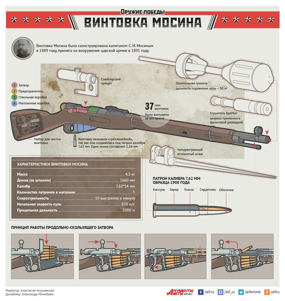 Оружие Победы: винтовка Мосина. Инфографика