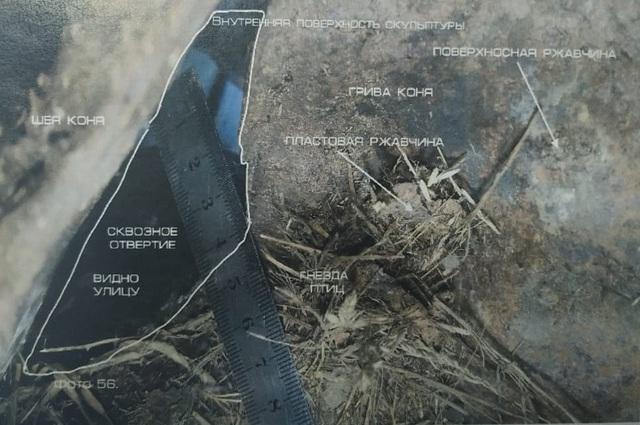гнезда птиц в памятнике